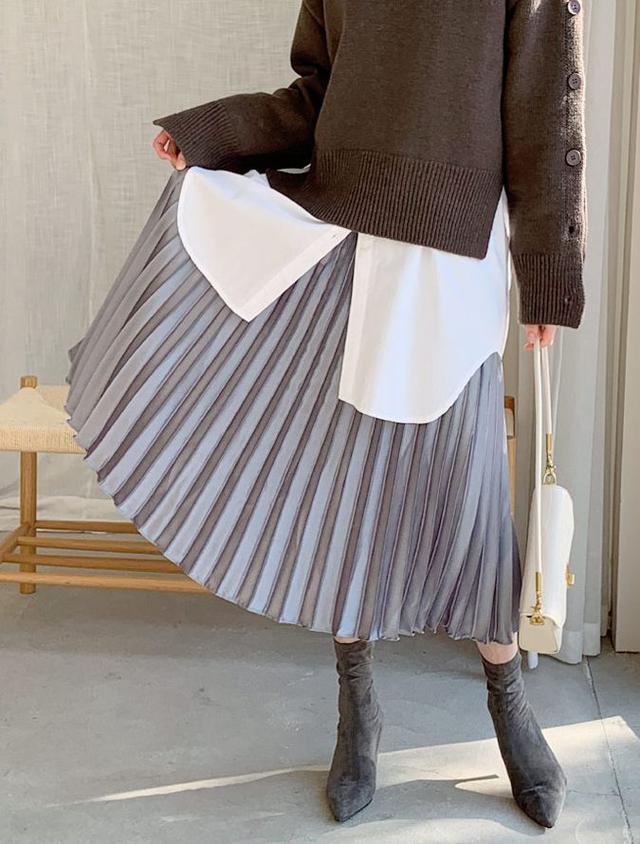 画像1: サテンプリーツスカート ¥2,992 (税込)