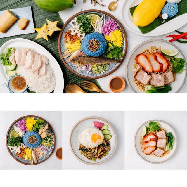 画像: (左)鯖のカオヤム ¥1,400→¥535 (中央)チョンプーガパオ ¥1,000→¥335 (右)タイが元祖の油そば ¥1,200→¥335 ※最低注文金額の¥1,200との差額分はお客様負担となります。