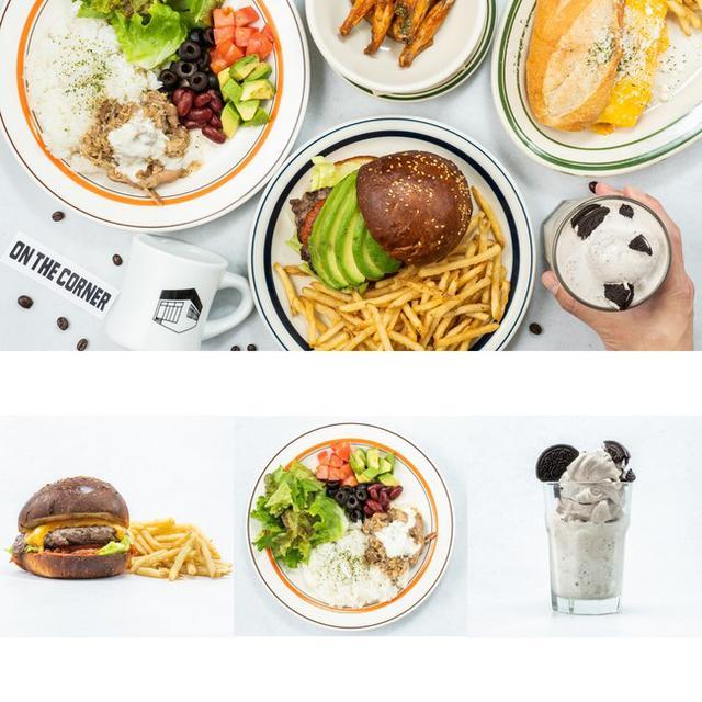 画像: (左)チーズバーガー ¥1,485→¥620 (中央)チキンオーバーライス ¥1,188→¥335 (右)オレオシェイク ¥1,188→¥335 ※最低注文金額の¥1,200との差額分はお客様負担となります。