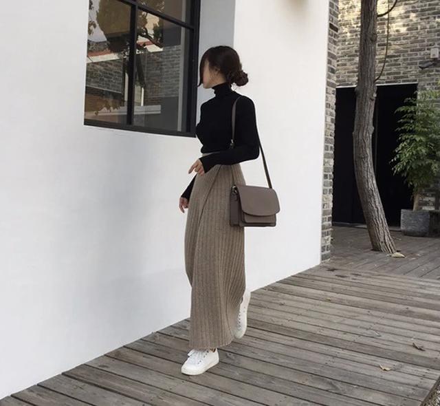 画像1: ニット巻きマキシ丈スカート