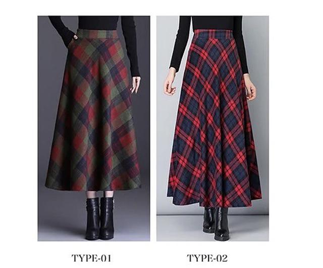画像3: ウールチェック柄ロングスカート
