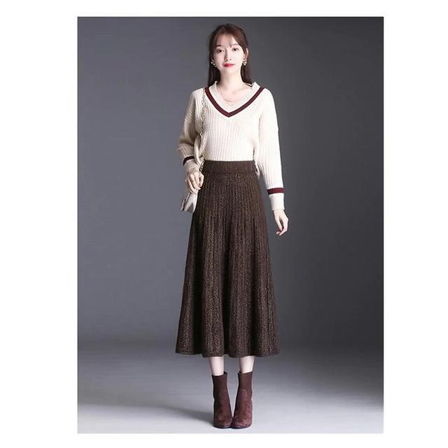 画像1: プリーツニットロングAラインスカート