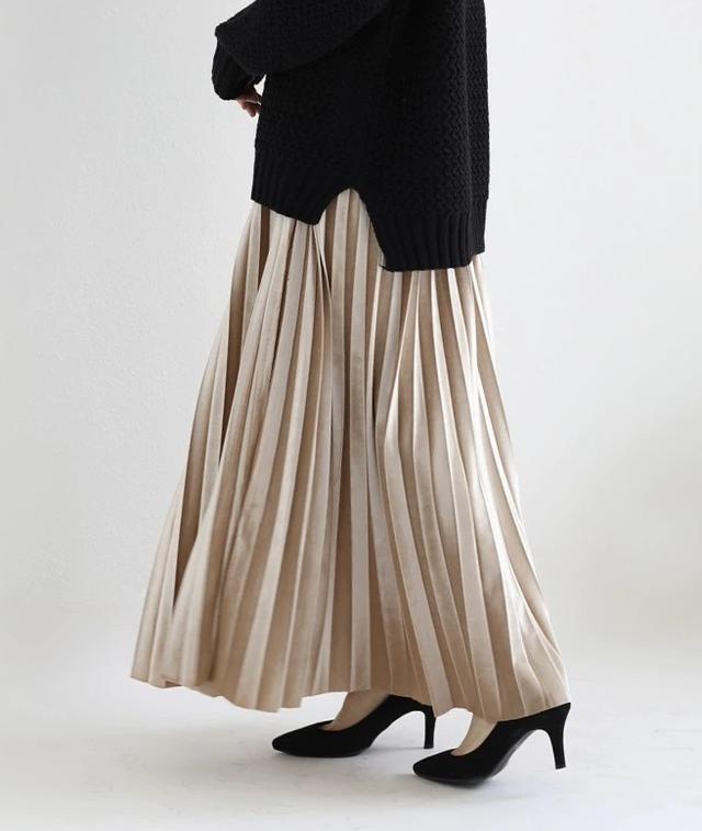 画像1: ベロアプリーツロングスカート