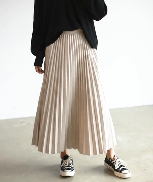 画像1: スエードプリーツロングスカート