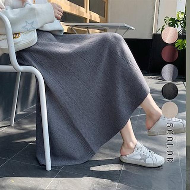 画像: [Qoo10] スカート aライン ニットスカート 秋冬