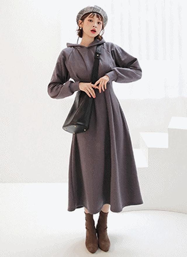 画像: [DHOLIC] 裏起毛フードタックワンピース・全3色ドレス・ワンピ|レディースファッション通販 DHOLICディーホリック [ファストファッション 水着 ワンピース]