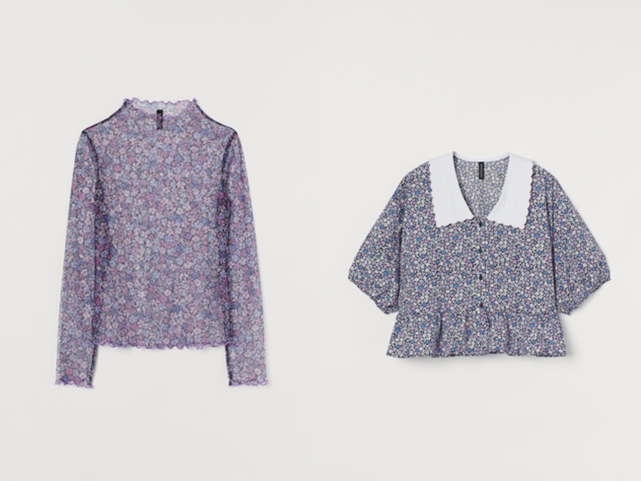 画像: (左から) メッシュトップス¥1,799 半袖ブラウス¥2,999