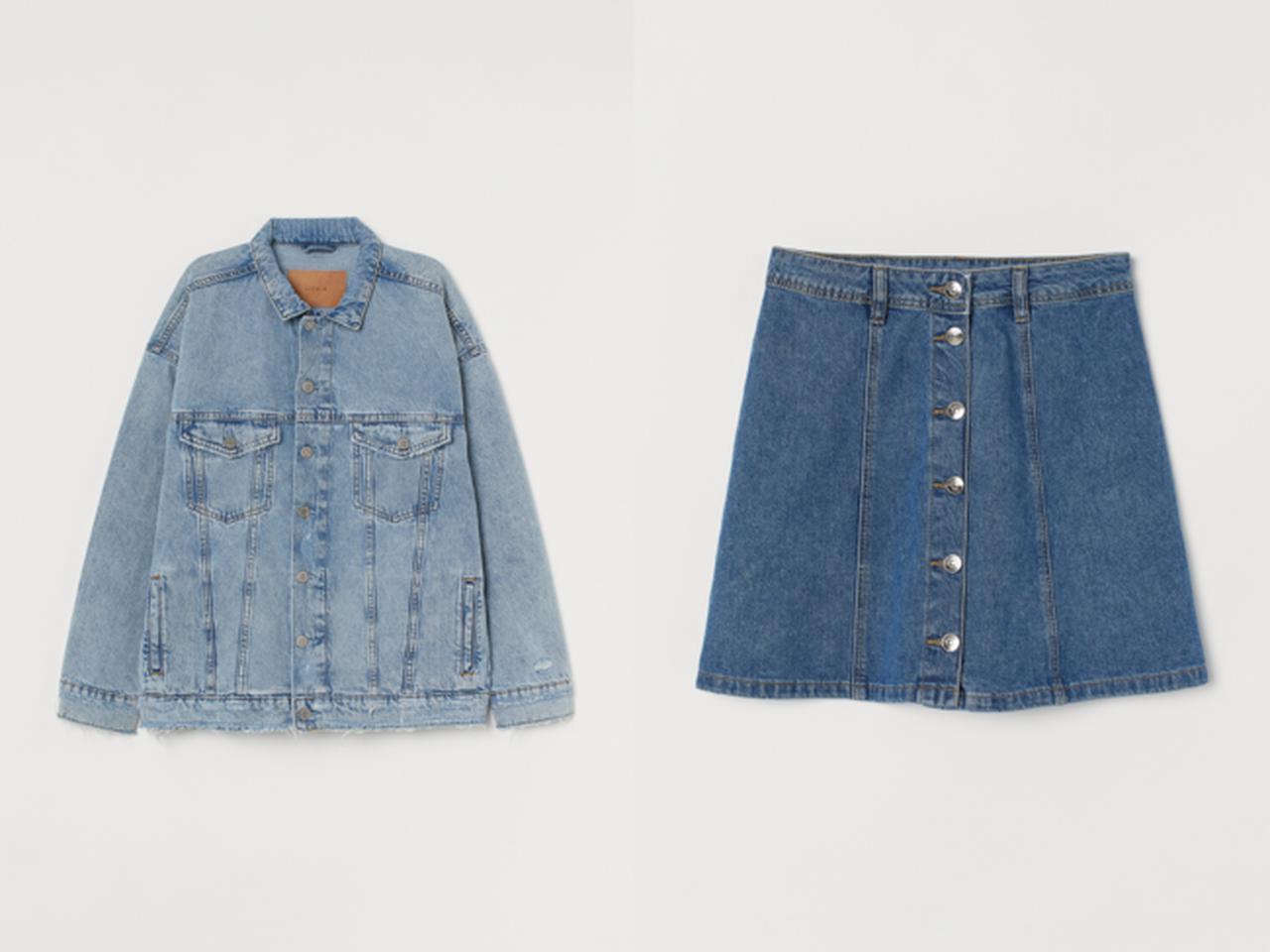 画像: (左から) オーバーサイズジャケット¥3,999 Aラインスカート¥2,499