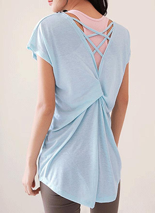 画像: [DHOLIC] バッククロスツイストTシャツ・全2色|レディースファッション通販 DHOLICディーホリック [ファストファッション 水着 ワンピース]