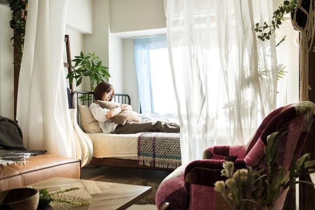 画像: ▲forRest:古材の柱があるお部屋 古材の柱に布などをくくりつけて空間を仕切ることが可能です。