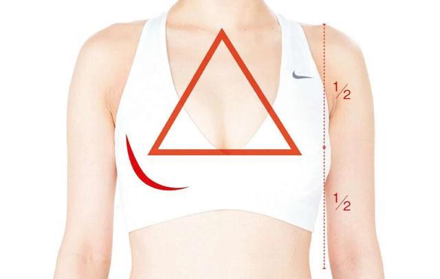 画像: ①鎖骨の中央と左右のバストトップを線で結ぶと、正三角形が現れるか
