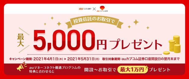 画像: 投資信託のお取引で5,000円プレゼント | auじぶん銀行