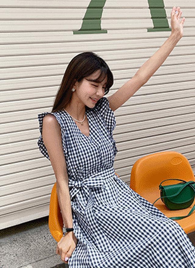 画像: [DHOLIC] ストラップ付チェックフリルワンピース・全3色ドレス・ワンピ|レディースファッション通販 DHOLICディーホリック [ファストファッション 水着 ワンピース]