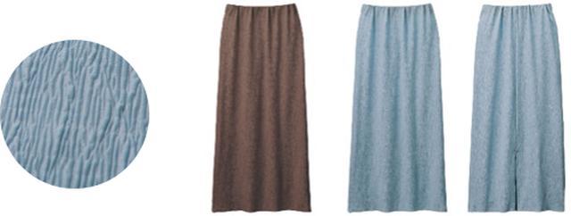 画像: (左)表情のあるランダムプリーツ (中央)ブラウン (右)ブルー(フロントスタイル・バックスタイル)