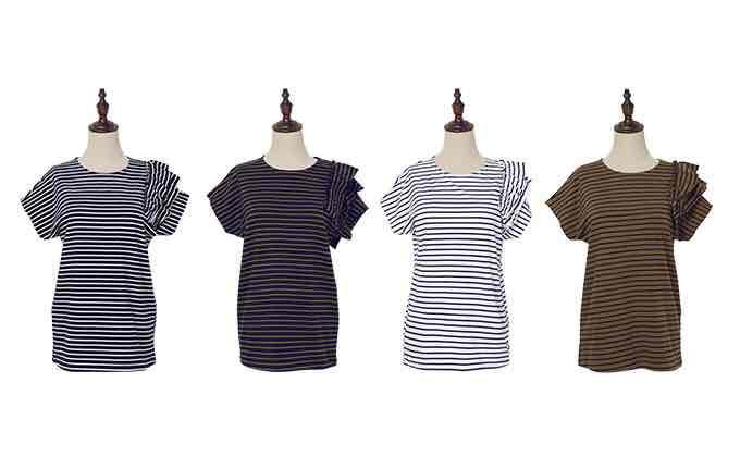 画像3: フリル袖アシメボーダーTシャツ