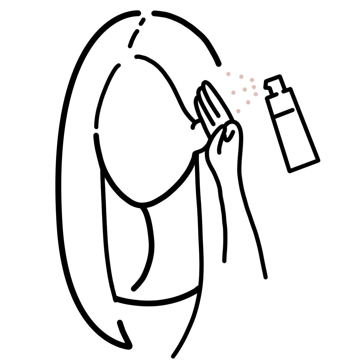 画像: 塗布する際は指3本分くらい離した距離から塗布してください。 塗布したところから、前頭〜頭頂部全体へなじませていきます。