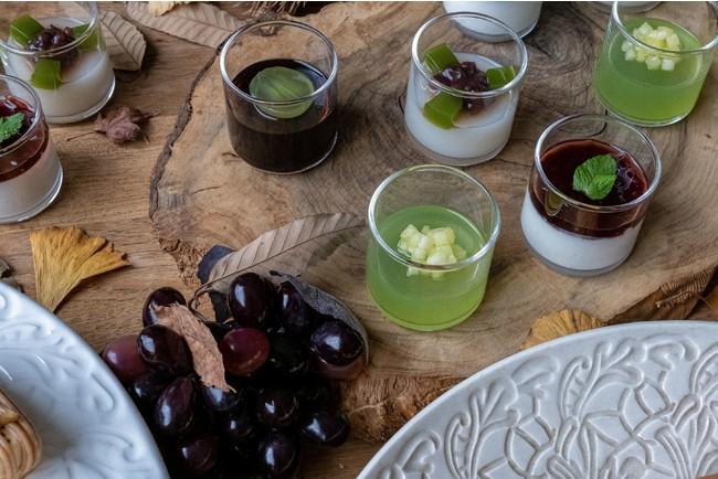 画像: ぶどう果汁をたっぷりと使用した『グレープゼリー』&『グレープシャーベット』