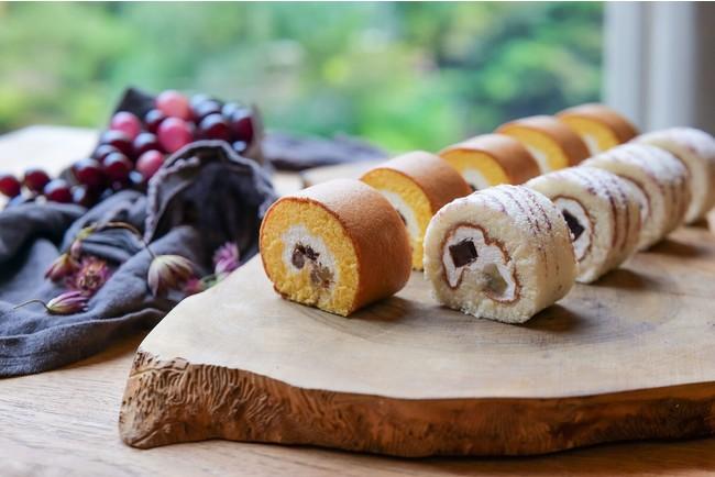 画像: 栗とぶどう、それぞれの美味しさを引き立てるべく種類の違う生地で作った2種類のロールケーキ『マロンロール』&『グレープロール』