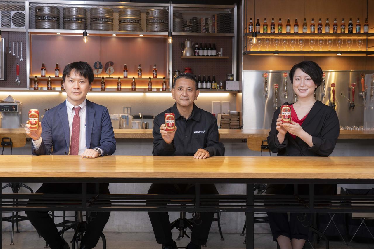 画像: 左から、事業創造部 間木さん、マスターブリュワー 田山さん、事業創造部 吉野さん