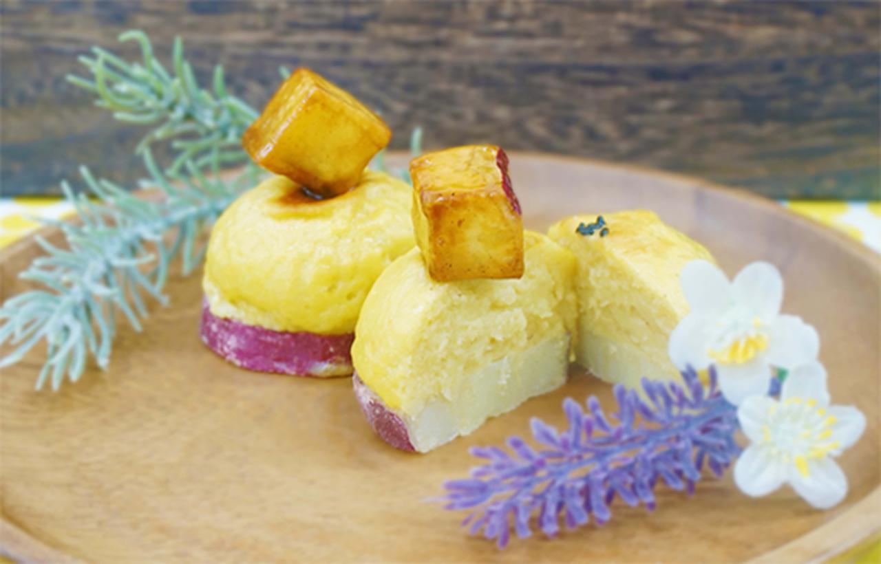 画像: ・ぽてたま 販売価格 270円(税込) まん丸お芋スイーツ。輪切りのお芋にふわふわ食感のお芋のペーストと大学芋をトッピング。