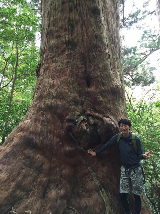 画像: 個人撮影。樹齢数千年の屋久杉と一緒に。