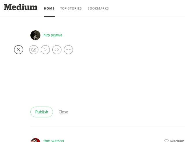 画像: Mediumのエディター