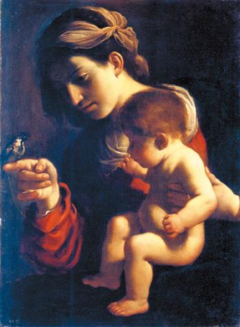 画像: グエルチーノ《聖母子と雀》1615-16年頃 油彩/カンヴァス ボローニャ国立絵画館