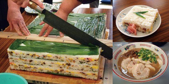 画像: 写真左;江戸中期から伝わるとされる、宇部の郷土料理・ゆうれい寿司。大きな包丁で切り分けていただく。 写真右上:寿司飯の層の間には具材がふんだんに散りばめられている 写真右下:宇部の人気B級グルメ・宇部ラーメン。濃厚なとんこつスープが癖になる味