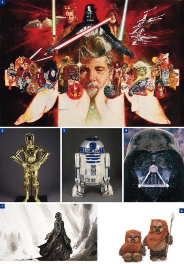 画像: 1.巨匠、ジョージ・ルーカスが『スター・ウォーズ』にかける情熱を多彩なアート作品で紹介《George Lucas'World》Manuel Sanjulian  2.3.『スター・ウォーズ』エピソード1〜6を通して登場する人気キャラクター、C-3POとR2-D2の名コンビ《C-3PO》《R2-D2》 4.キャラクターの中でも人気の高いダース・ベイダーをモチーフにした《Regrets》MASE Y 5.国内外の有名アーティストがオマージュを捧げるアート作品も展示《Vader》天野喜孝 6.東京会場の限定品となるイウォーク族の代表「ウィケット」の等身大1/4 サイズのぬいぐるみ。〈1/4 座りウィケット〉〈1/4 サイズウィケット〉各3240円。各バージョン1000個限定