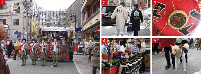 画像: 1.みこしは、浅草神社を出ると各町内へと戻っていく。思わぬところでシャッターチャンスに出会うことも。 2.はんてん姿の人たちもあふれている  3.祭り期間中は雷門の大提灯もたたまれて少しだけ小さくなっている  4.長時間に及ぶお祭り…お疲れモードの子供たちも……  5.祭りムードは人間だけじゃないようで…