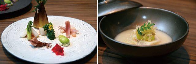 画像: 写真左より「生彩八寸」(上記コースに含まれる)「馬鈴薯のすり流しムース仕立て」(同上)