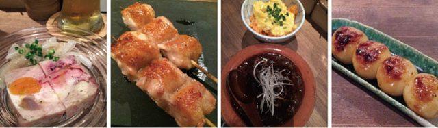 画像: 写真左より「名物 焼鳥屋のテリーヌ」 、「本日の串焼き 皮付きフィレ」 、「もつ煮と小ぶりなオムライス 合い盛り」、「しょうゆ団子」※写真はすべて名物コース(4100円)のメニュー