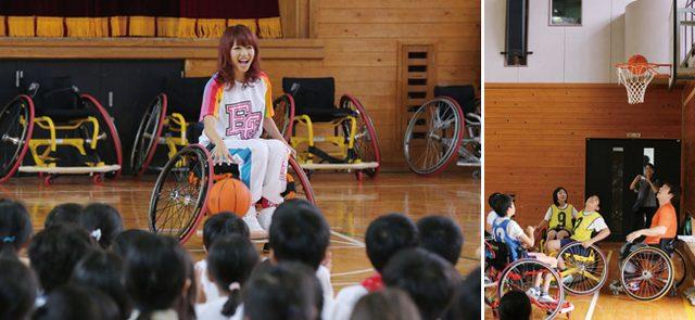 画像: E-girls Ayaも競技用車いす初体験ながら、持ち前の運動センスを発揮。点の取り合いとなった試合に、全校生徒が大絶叫で応援