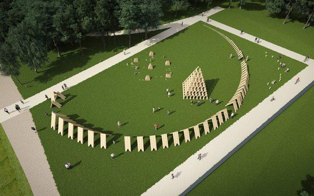 画像: 広大な芝生の上に出現する「つみきのひろば」