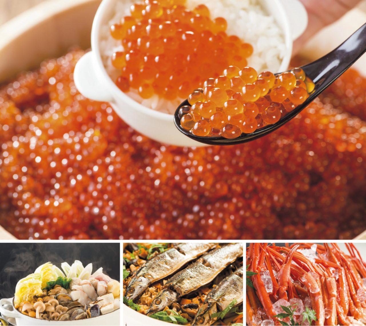 画像: 写真上:いくらかけ放題(ディナー)下左:北の鍋(ディナー)下中:北海道産秋刀魚のリラッサ風中華おこわ 下右:蟹大漁盛り