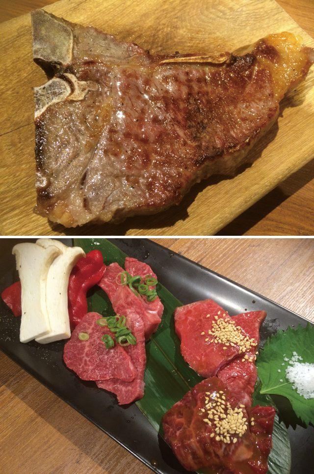 画像: 「50日熟成和牛Tボーンステーキ」の切り分ける前 「特選盛り合わせ」(内容により値段は異なる)