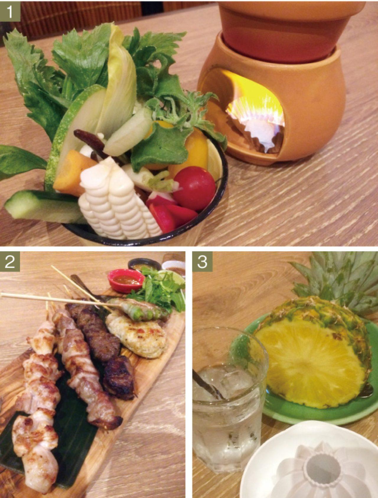 画像: 1.「NIJYU−MARU野菜市場のバーニャカウダ」580円(1人前) 2.「串焼き5種の盛り合わせ」1280円 3.「生絞りパイナップルサワー」700円