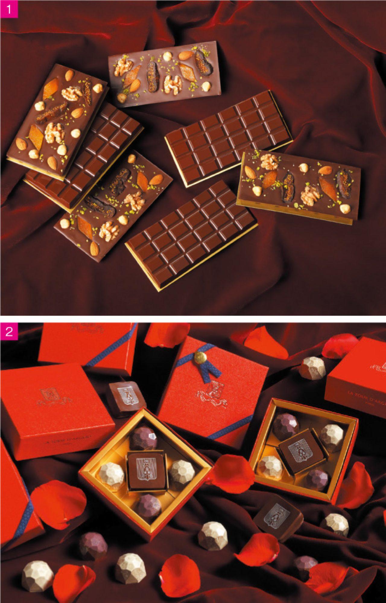 画像: 1.オーガニック ショコラ オリジナルタブレット(2800円/3000円 各2枚セット) 2.宝石をイメージした美しい生チョコ詰め合わせセット『ビジュー レッドボックス』(5個入り 2000円)