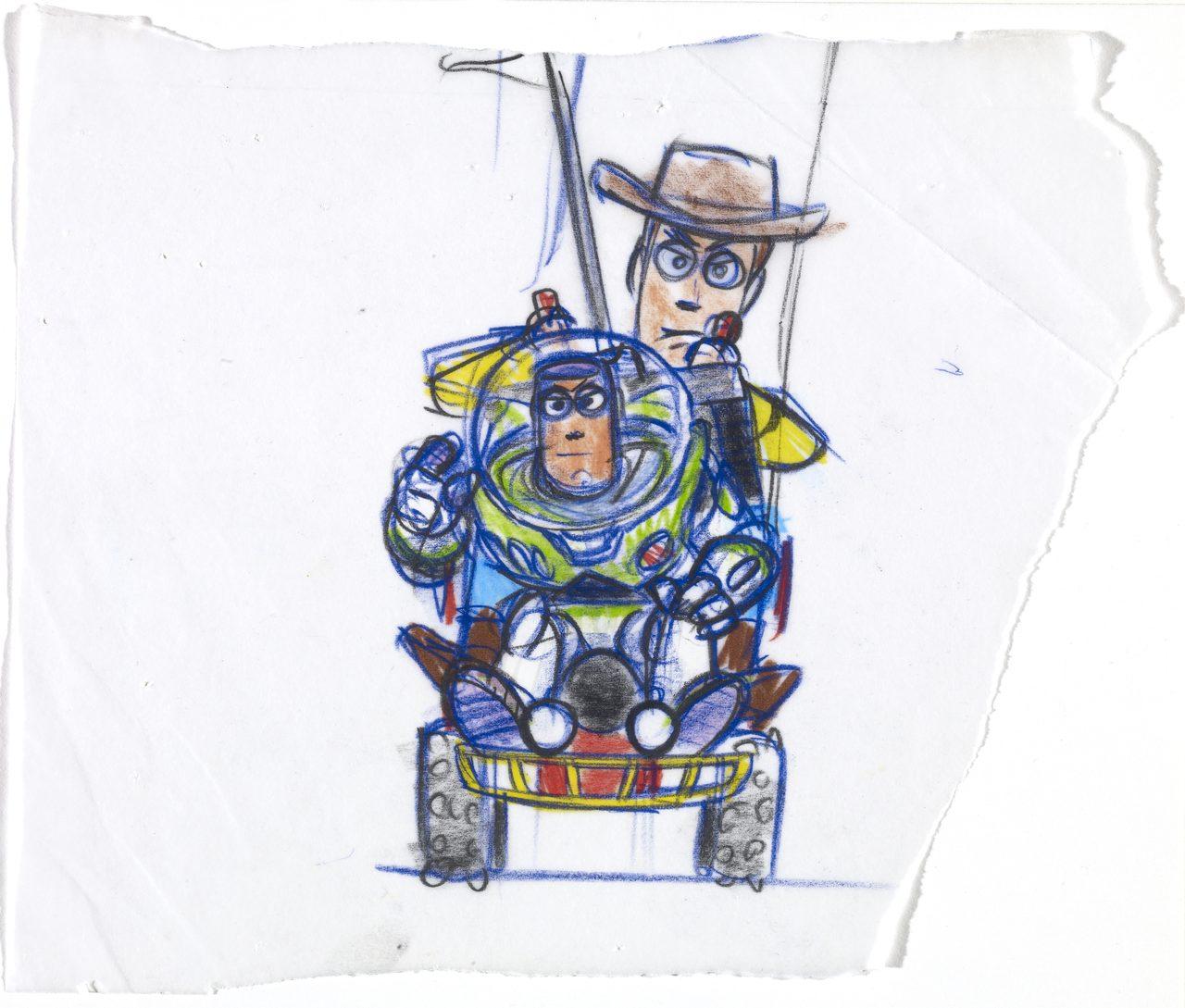 画像: ボブ・ポーリー 《ウッディとバズ》『トイ・ストーリー』(1995年)/複製(マーカー、鉛筆/紙)