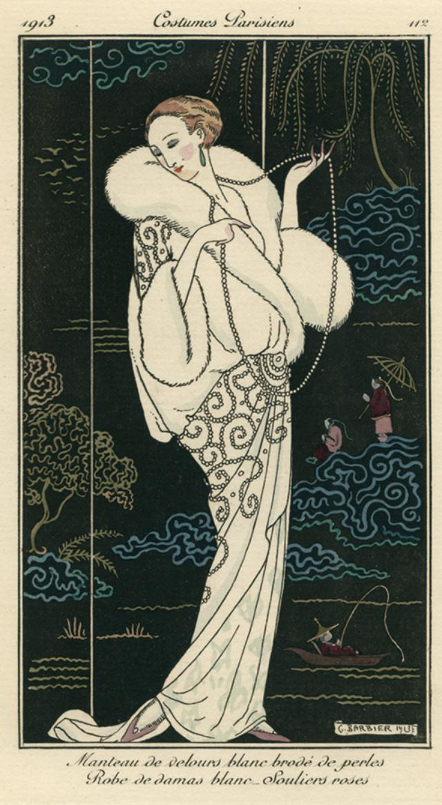 画像: ジョルジュ・バルビエ《パリの服装 パール刺繍の白いベルベットのコート 白のダマスク織のドレス 淡いバラ色の靴》『ジュルナル・デ・ダーム・エ・デ・モード』1913年10月10日パリ 神戸ファッション美術館蔵