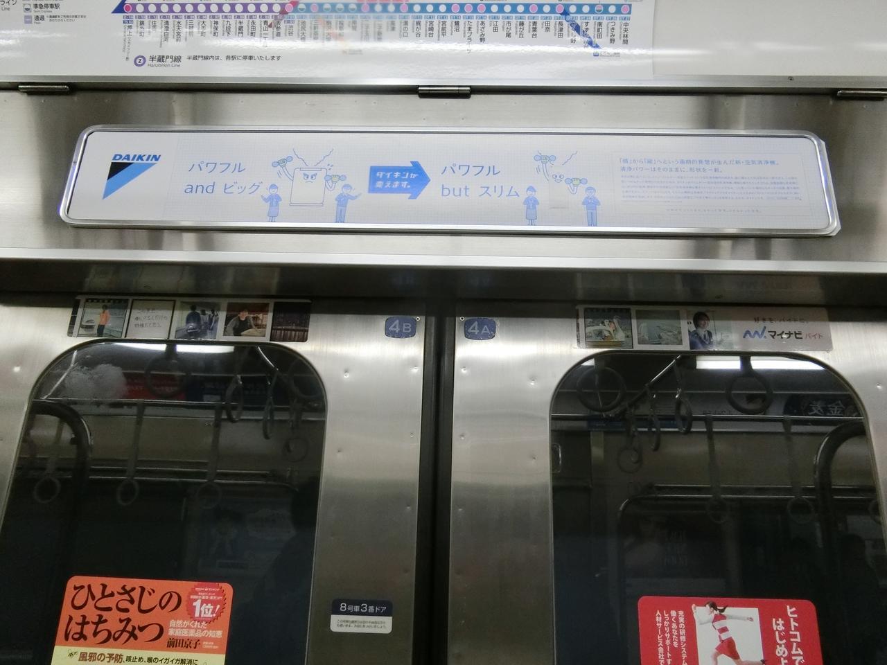 画像: 8500系ドア上部