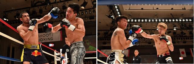 画像: 【写真左】日本スーパーウェルター級王者の坂本優起(右)はまさかの3連敗 【写真右】ライト級のホープ・海人(右)はKOこの逃したが3-0の判定で大河洋明を退けた(撮影・蔦野裕)