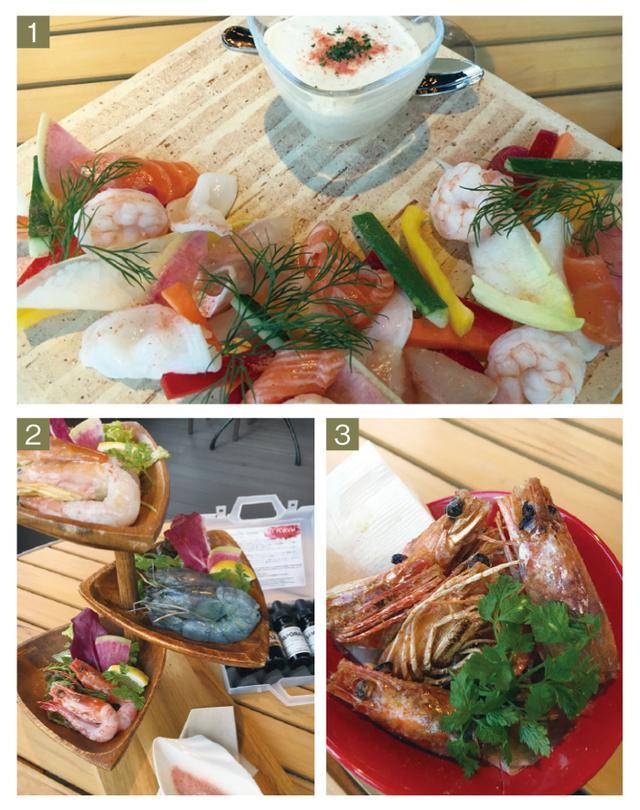 画像: 1.三浦野菜と魚介のセルヴェル・ド・カニュ(1380円) 2.3種の海老 食べ比べ(1580円) 3.「食べ比べで残った頭の素揚げ