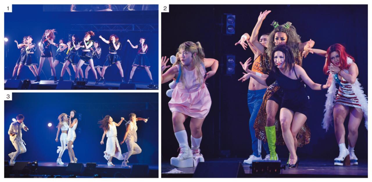 画像: 1.アイドルながら、本格的なダンス&ボーカルを追求しているGEMのステージ。ペンライトやコール&レスポンスなど、会場と一体となったパフォーマンスで楽しませた。 2.摩訶不思議な東京ゲゲゲイワールド。衣装やメイクは奇抜だが、ダンスコンテストで結成されたというだけあり、ダンスのスキルは本物。「友情」というテーマを独特の世界観で表現した。 3.lol−エルオーエル−は、メンバー全員が歌って踊れるので、幅広い表現で観客を魅了した。