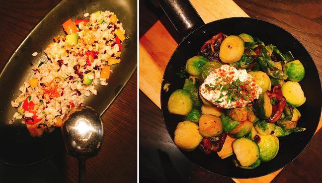 画像: 「押し麦・黒米のシーフードタブレ」」(¥900)「芽キャベツとマッシュルームのトリュフオイルソテー」(¥1000)