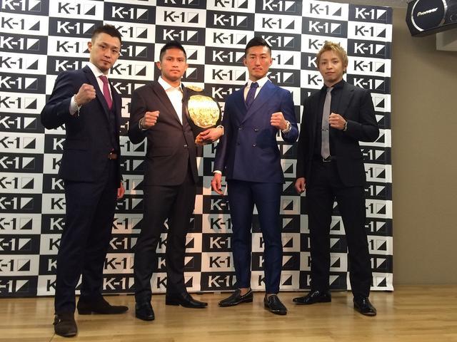 画像: 会見に出席した大和、ゲーオ、山崎、久保(左から)