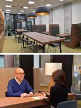 画像: 【写真上】カフェのようにリラックスできるミーティングスペース。会員エリアのコワーキングスペースとしても利用できる。【写真下】さまざまな相談に対応できるよう、各専門分野のコンシェルジュが所属。まずはコンシェルジュデスクで気軽に相談!