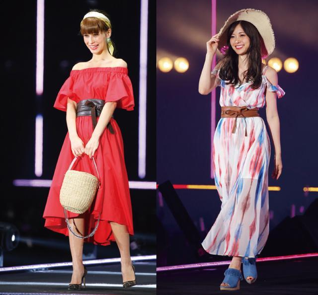 画像: 【写真左】And Coutureのオフショルシャツドレス姿のダレノガレ明美【写真右】CECIL McBEEのシフォンワンピもお似合いな白石麻衣(乃木坂46)