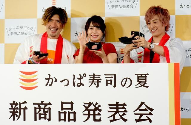 画像: 宇垣美里&EXIT辛いお寿司にエキサイト「味は激うまぷんぷん丸!サイコー&ガーファンクル」
