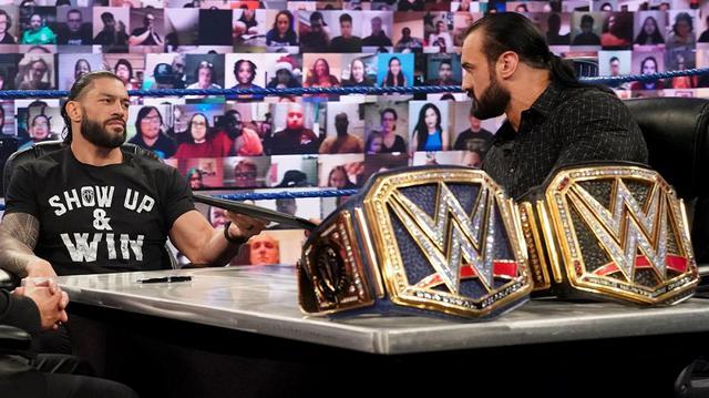 画像: レインズとマッキンタイアが調印式で対峙「戦争に備えておけ」「お前は2番手の王者だ」【WWE】